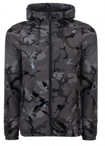 Fargo  Mens Designer Camouflage  Hooded Wind Runner Jacket  Black